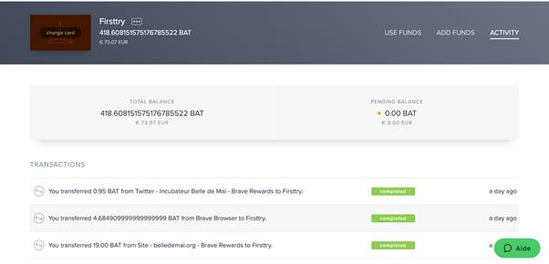 Interface Uphold de gestion du portefeuille de dons BAT pour une valeur de plus de 70 euros à décembre 2020